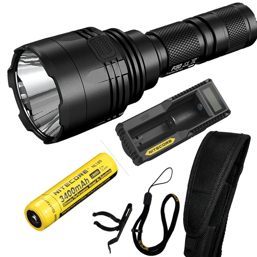 NITECORE P30 1000Lumen Long-range Tactical Flashlight Outdoor Hunting Waterproof Portable Torch with 18650 Battery and charger 2017 new nitecore p12 tactical flashlight cree xm l2 u2 led 1000lm 18650 outdoor camping pocket edc portable torch free shipping
