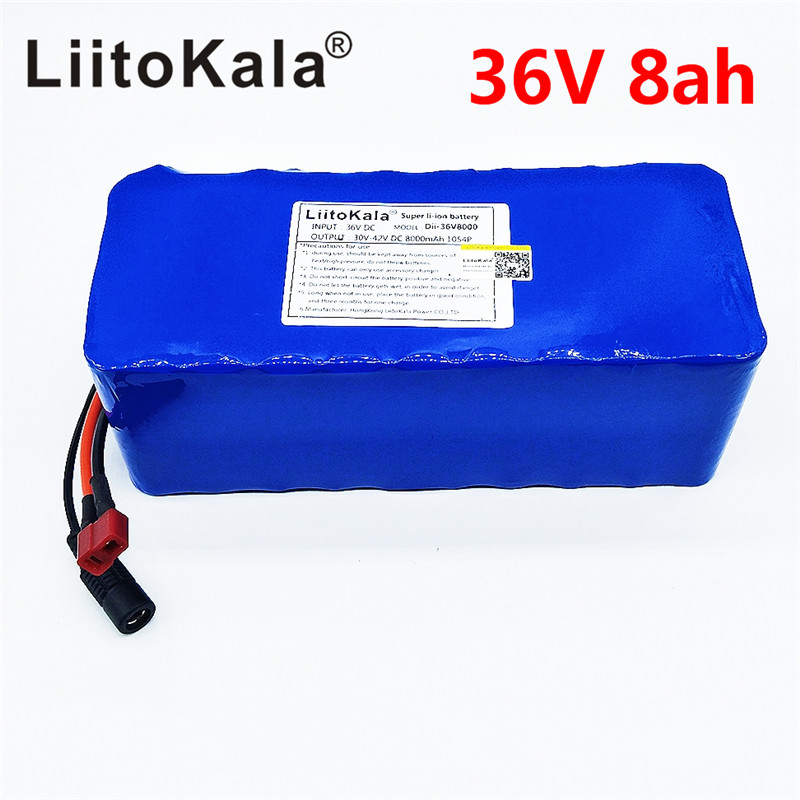 LiitoKala 36V 6ah 8ah 10 500W 18650 lithium battery 36V 8AH Electric bike battery with PVC case for electric bicycle hot sale bottom discharge electric bike 36v 8ah li ion battery 36v 8ah electric bicycle silver fish battery with charger bms