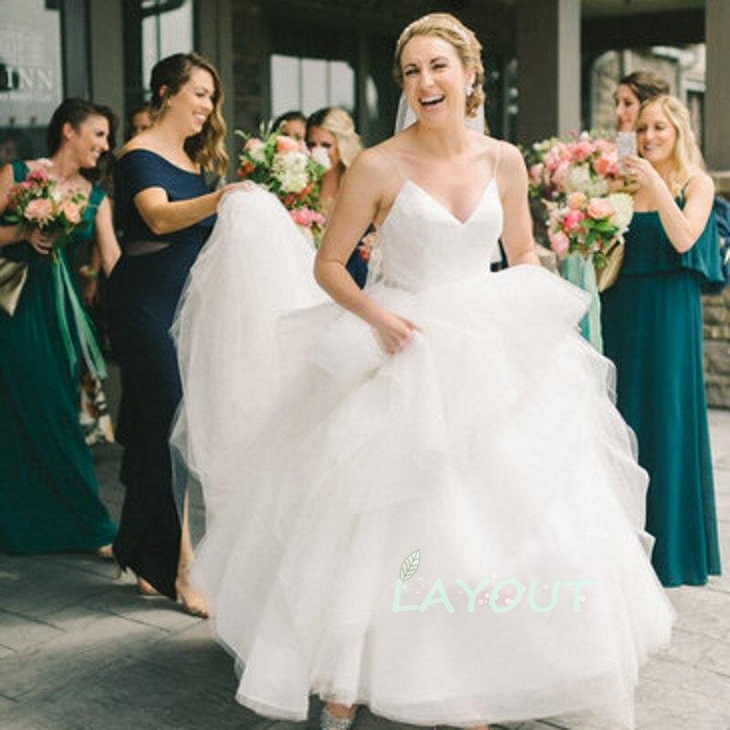 SHJ844 Hot Sale Backless Sexy Wedding Dress Boho Style V-Neck Beading Bohemian Tulle Wedding Dress Custom Made