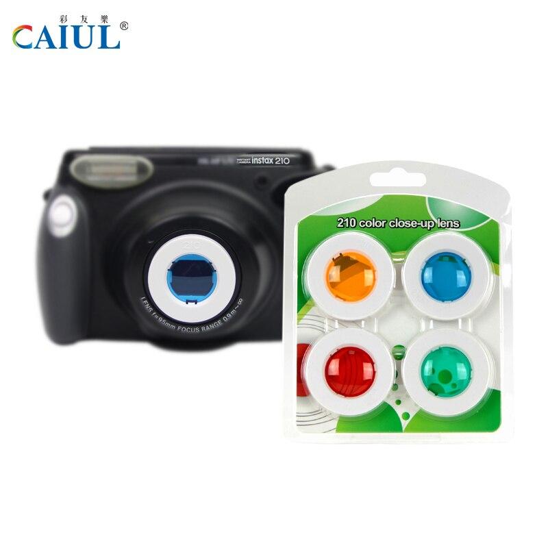 CAIUL close-up lente traje para cámara Fujifilm instax wide 210 300 cámara instantánea lente de autorretrato UV 4 filtros de color