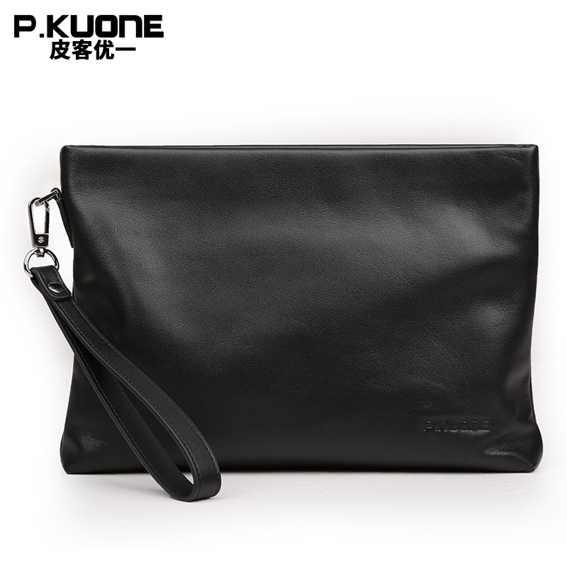 P.KUONE Hot Seller Genuine Leather Day Clutches Higeh Quality Men Handbag 2018 New Design Messenger Bag Famous Luxury Brand Bag цена 2017