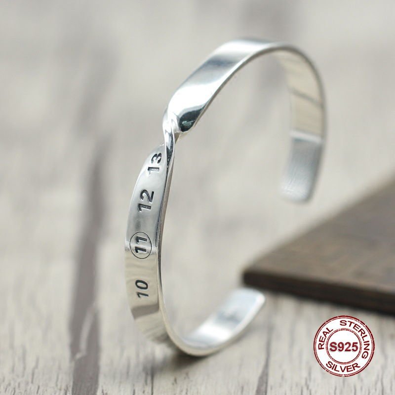 s925 sterling silver new bracelet Simple and generous popular Retro couple life bracelet Classic style Send a gift to love