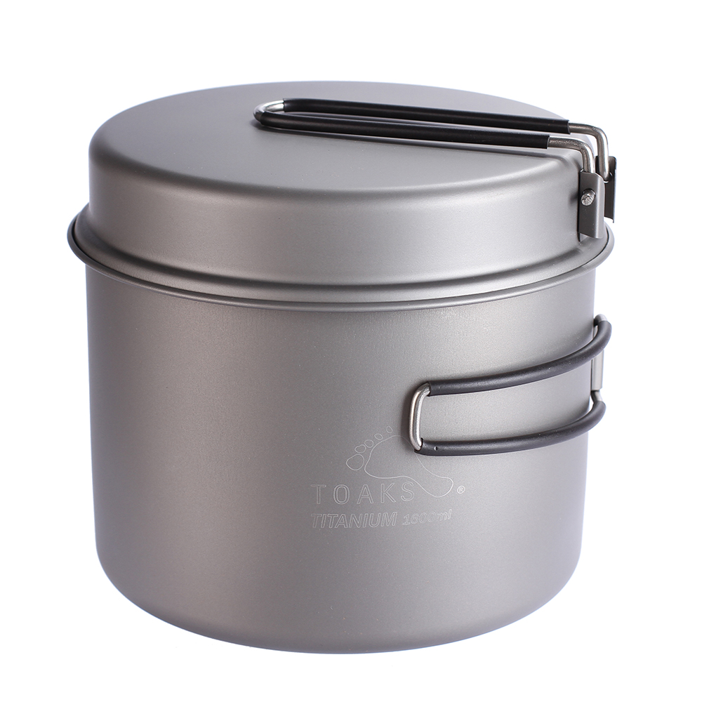 TOAKS Cookware Set Ultralight Titanium Ti Pot Frying Pan Outdoor Camping Titanium Bowl Titanium Cup Picnic 1600ml keith titanium lunch boxes set 3 pcs in 1 outdoor camping ultralight bowl with lid picnic fresh food keeping boxes ti5378