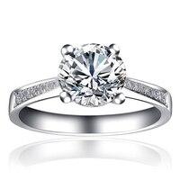 ANI 18 К из белого золота (AU750) обручальное кольцо 0,5 КТ Certified я/SI круглая огранка природных алмазов 4 когти Группа Мода Обручение ювелирные издел