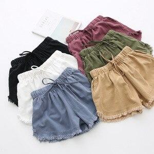 Image 2 - Базовые потертые хлопковые шорты, женские однотонные широкие шорты, летние повседневные белые, черные