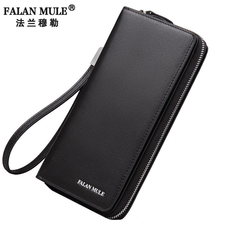 цена FALAN MULE Brand Men Wallets Business Genuine Leather Clutch Wallet Card Holder Long Zipper Purse онлайн в 2017 году