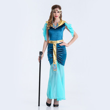Umorden Carnival Party Halloween Cleopatra Costumes Women Adult Egyptian Egypt Queen Goddess Costume Blue Cosplay Fancy Dress