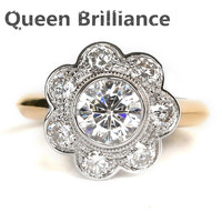 1 7 Carat Ct EF Colorless Clear Lab Grown Moissanite Flower Shaped Ring With Moissanite