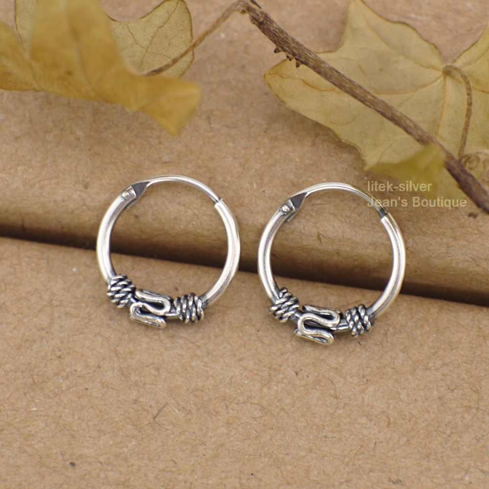 77fe4c266 925 Solid Sterling Silver Fashion Jewelry Bali Huggie Hoop Sleepers Earrings  Ear Bone Ring A1538
