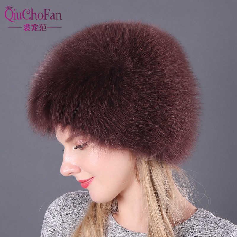 Tự nhiên Cáo Lông Mũ Nam Nữ Thật Lông Beanies Nón Dệt Kim Nón Mùa Đông Nga Dày Ấm Mũ Thời Trang Bạc Fox bộ lông Nón nữ