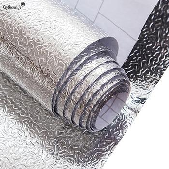 Prova di Olio da cucina Impermeabile Autoadesivo Foglio di Alluminio Da Cucina Stufa Cabinet Adesivi Carte Da Parati Adesivo DA Parete FAI DA TE Adesivi 1