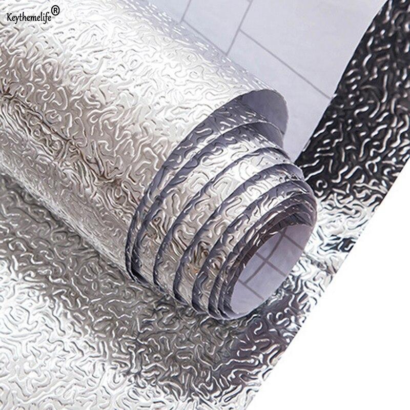 Cocina a prueba de aceite etiqueta engomada impermeable de cocina aleación de aluminio cocina gabinete pegatinas adhesivo fondos DIY pegatinas de pared de @