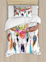 Watercolor Duvet Cover Set Bull Skull with Hanging Flower Feathers Ethnic Inspired Native American Design 4 Piece Bedding Set