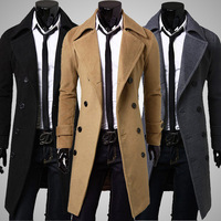 Fashion Clothing Jacket Woolen Coat Men Trench Double Breasted Peacoat Stand Collar Casual Winter Long Men Coat
