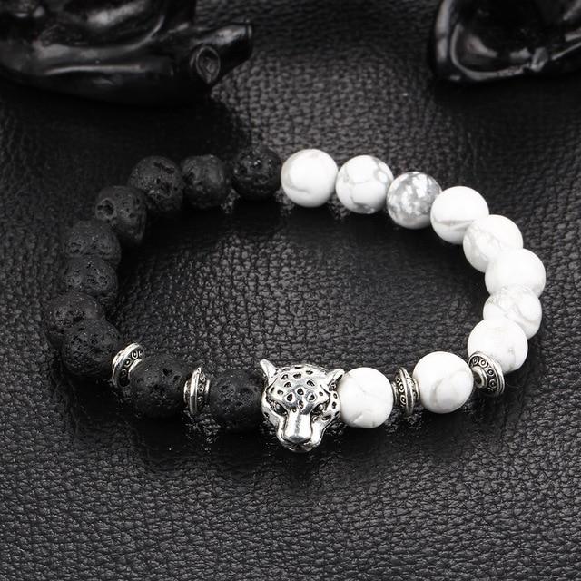 62fff8b3b284 Piedra natural negro volcán Pulseras y brazaletes mano cordón León leopardo  cabeza pulsera para hombre mujeres