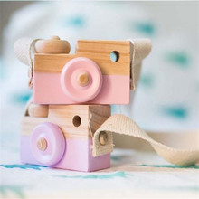 Wooden Camera Toy Cute Hanging Wood Gift Kids Toys 9.5*6*3cm Room Decor Furnishing Articles Baby Birthday Gifts Wooden For Kids(China)