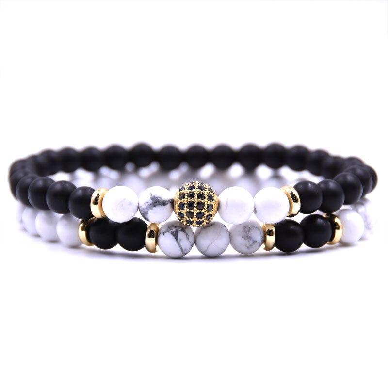 HYHONEY 2 pièce/ensembles pierre naturelle Bracelet hommes Micro pavé CZ 8mm Disco balle breloques Bracelets pour femmes hommes bijoux viking bijoux 5