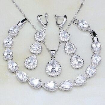 Мода капли воды белый кубический цирконий 925 пробы серебряные Ювелирные наборы для женщин Свадебные серьги/кулон/цепочки и ожерел