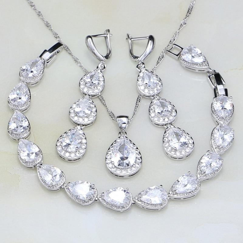 c7aec0132caab العصرية قطرة الماء الأبيض مكعب زركونيا 925 الاسترليني والفضة والمجوهرات  مجموعات للنساء الزفاف الأقراط قلادة قلادة  سوار