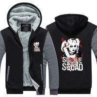 2016 Fashion Suicide Squad Harley Quinn Joker Cosplay Hoodies Men Coat Hoodie Winter Fleece Thicken Jacket