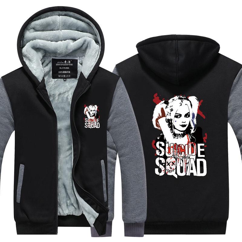 Suicide Squad Harley Quinn Joker Cosplay hoodies men Coat Hoodie Winter Fleece Thicken Jacket Sweatshirts Plus