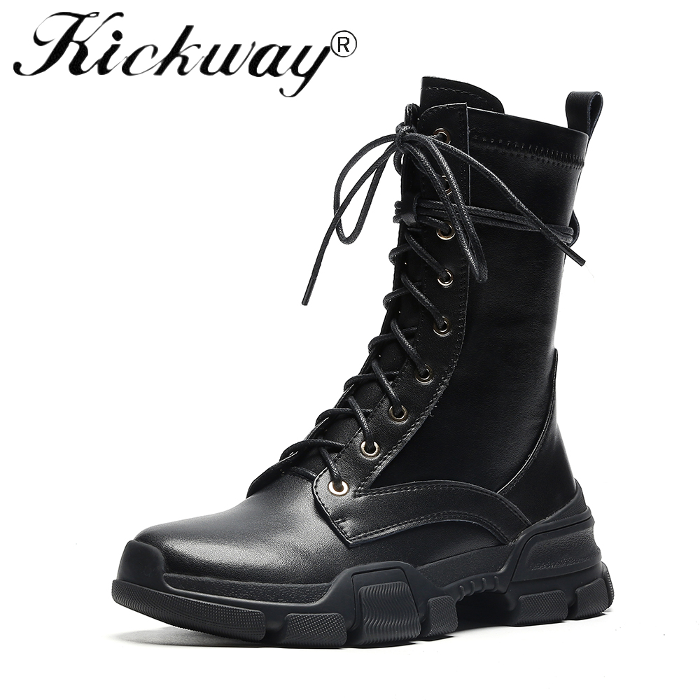 Kickway Botas Mujer Women Motorcycle Mid Calf Boots Flat Female Lace Up Platforms Autumn Winter Cow Leather Oxford Shoes Woman недорго, оригинальная цена