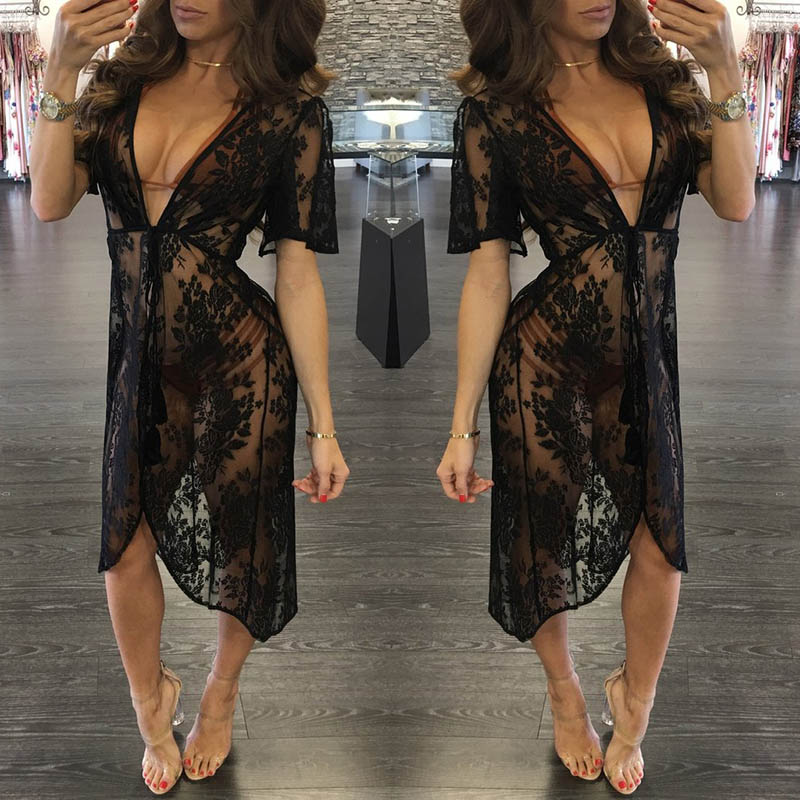 2018 New arrival women's swimwear sexy breathable beach dress tunic comfortable beach cover ups swimwear women dress beach swim 3