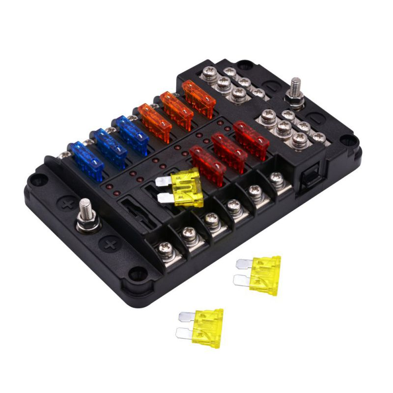 Car Blade Fuse Block Independent 12 Ways Fuse Box 12 Circuit With Negative Bus Led Indicator Car Fuse Holder IP56 853d 110v 220v usb hot air gun rework station soldering iron heat gun power supply welding repair solder station led light