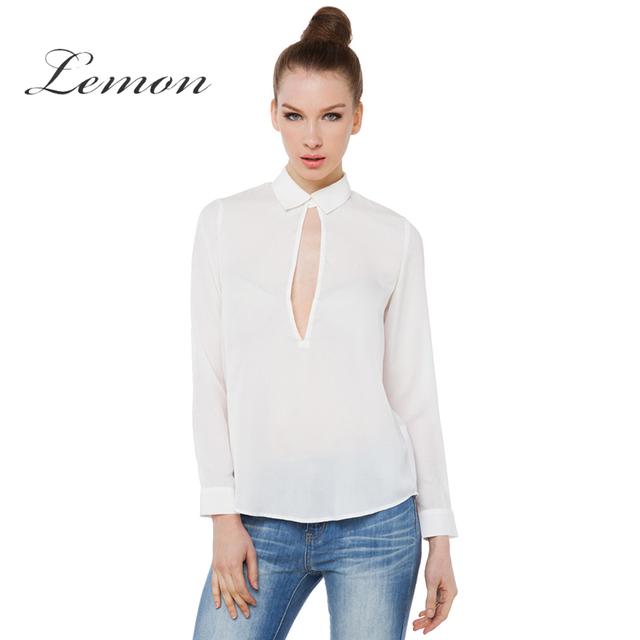 Lemon 2018 Fashion Hollow Out Chemise Femme Long Sleeve Female POLO Shirt  Preppy Style High Low Solid White Blouses Shirts 38d3158be87
