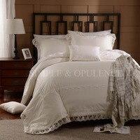 100% cotton 400TC Romance Duvet Cover Set with white lace including duvet cover and pillow case