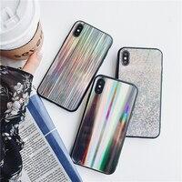 Bonne Qualité Souple en Silicone et En Plastique Laser Mobile Téléphone Cas Pour iPhone 6 6 S 6 Plus Lumineux Éclat De Protection Shell Coque Funda Sacs