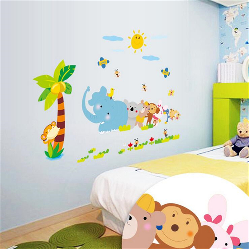 cartoon elephant tug of war wall sticker vinyl wall stickers for kids rooms living room nursery decorations stickers posters - Nursery Decorations