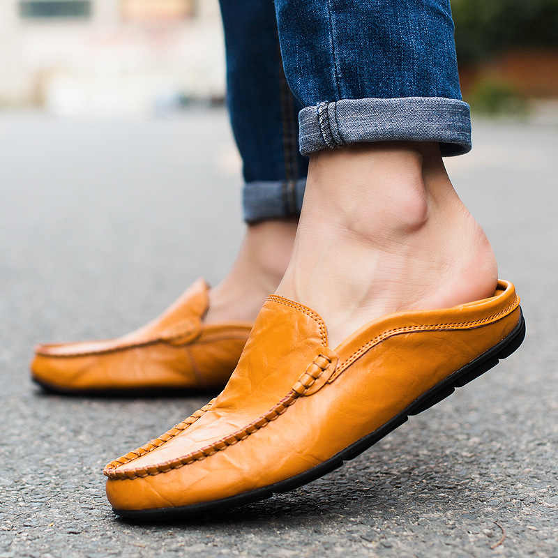Men Shoes Genuine Leather Shoes Moccasin Men Loafers Tenis Masculino Adulto Slip On Flat Boat Men Casual Leather Shoes Size 46