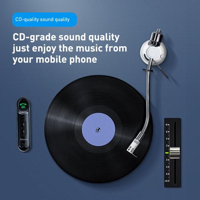 Baseus voiture Aux Bluetooth 5.0 adaptateur sans fil 3.5mm récepteur Audio pour Auto Bluetooth Kit mains libres voiture haut-parleur casque 4