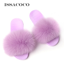 ISSACOCO Winter Women's Furry Slippers Indoor Fur Home Slippers Warm Fox Fur Shoes For Women Slides Flip Flops Fluffy Slippers couple slippers fur slides for men women indoor slippers female winter plush insole rubber sole comfort cotton shoes flip flops