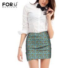 FORUDESIGNS Yorkshire Terrier Printing Women Skirts Ladies Flower Pattern Mini Skirt for Females Teen Cute Puppy Casual Bottoms
