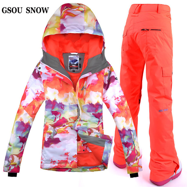 Free Shipping Gsou Snow Women Ski Suit Windproof Waterproof Outdoor Sport Wear Thicken Thermal Snowboard Ski Jacket+Pants Sets