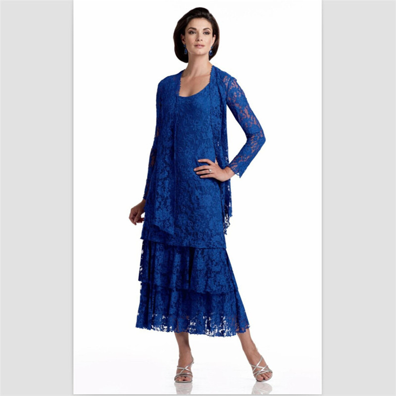 Popular Lace Mother of The Bride Tea Length Dresses-Buy Cheap Lace ...
