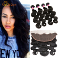 Brazilian Body Wave With Frontal Closure 13X4 Ear to Ear Silk Base Frontal Closure WIth Bundles Brazilian Hair With Closure