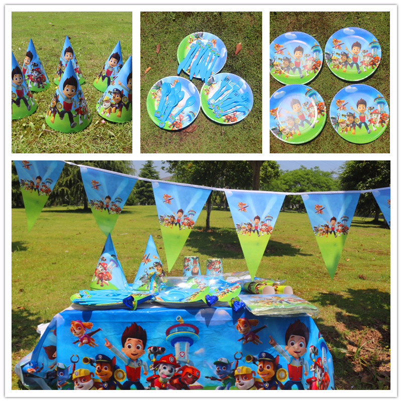 135pcs Disposable Tableware sets Puppy Canine Dog TableCloth cups Paper plate Napkin Kids Boy Birthday Party Decoration