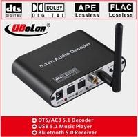 DTS AC3 dolby Digital 5.1 Audio Decoder Converter Gear DAC Bluetooth 5.0 USB Music Player SPDIF Optical Coxial BT input