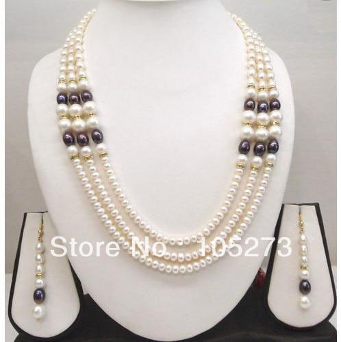 Здесь можно купить  New Free Shipping Pearl Jewelry Set 4-10mm Natural White Black Flat Freshwater Pearl 3offers Necklace 17-20