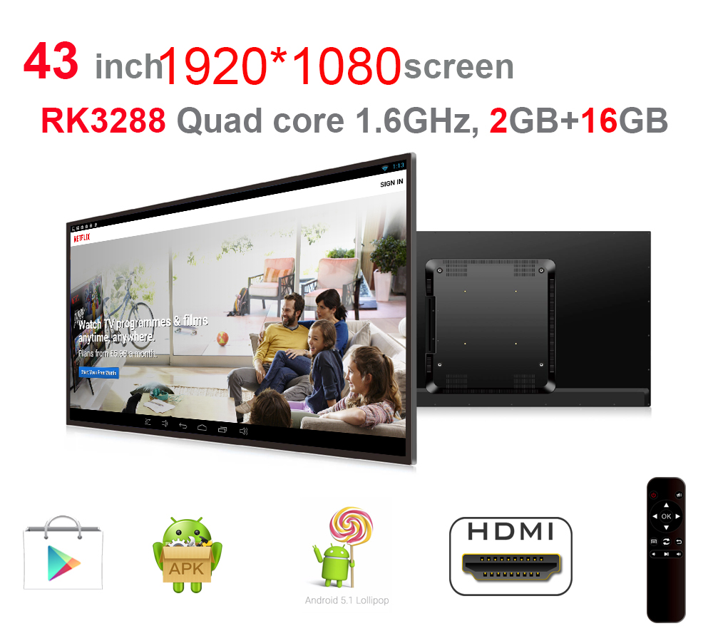 43 Inch Android All In One Pc(1920*1080, Quad Core, 1.8Ghz, Android5.1 2GB DDR3, 16GB Nand Flash, Bluetooth, 400*400mm VESA)