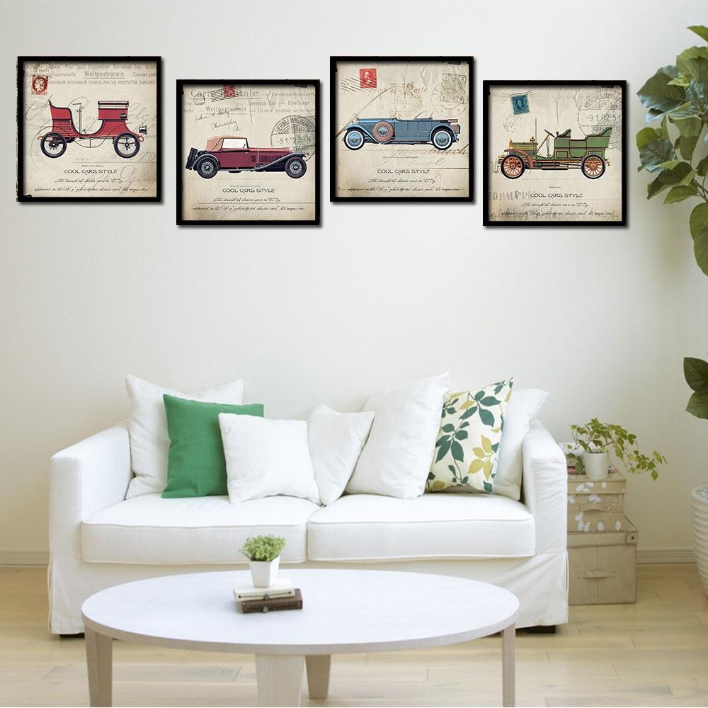 Vintage Poster Classic Cars Minimalist Art Canvas Print Car ...