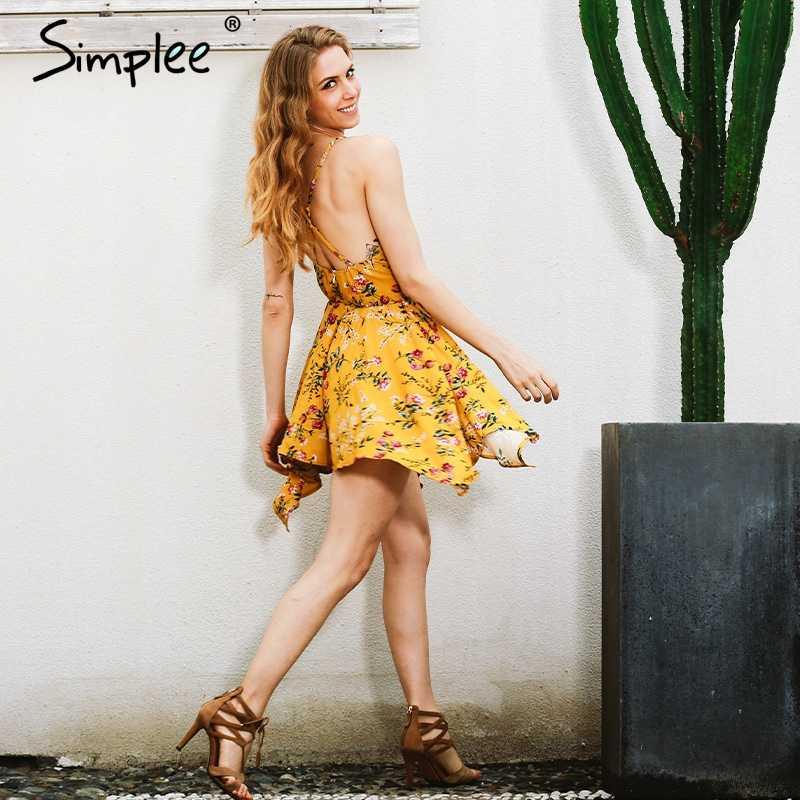 Женские комбинезоны Simplee с V-образным вырезом, женский ромпер на молнии с цветочным принтом и открытой спиной, летние пляжные комбинезоны, комбинезон-купальник