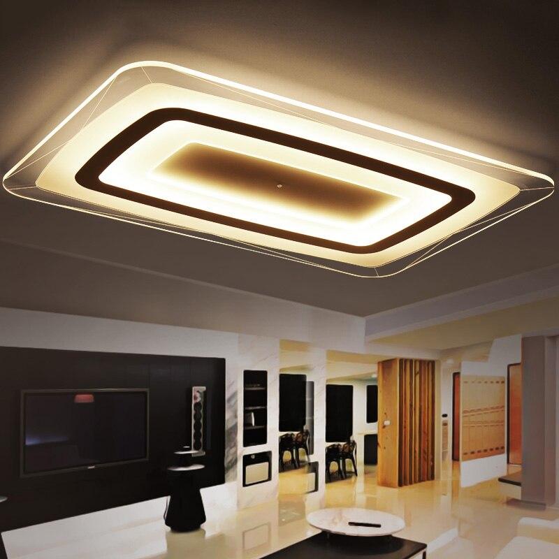 Super-fino Quadrado Retângulo lustre de Teto luzes de iluminação interior led luminaria abajur moderno conduziu a lâmpada do teto do candelabro