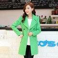 Nova Versão Coreana Mulheres Auto cultivo A Longo Lapela Dupla Breasted Casaco De Lã Tweed