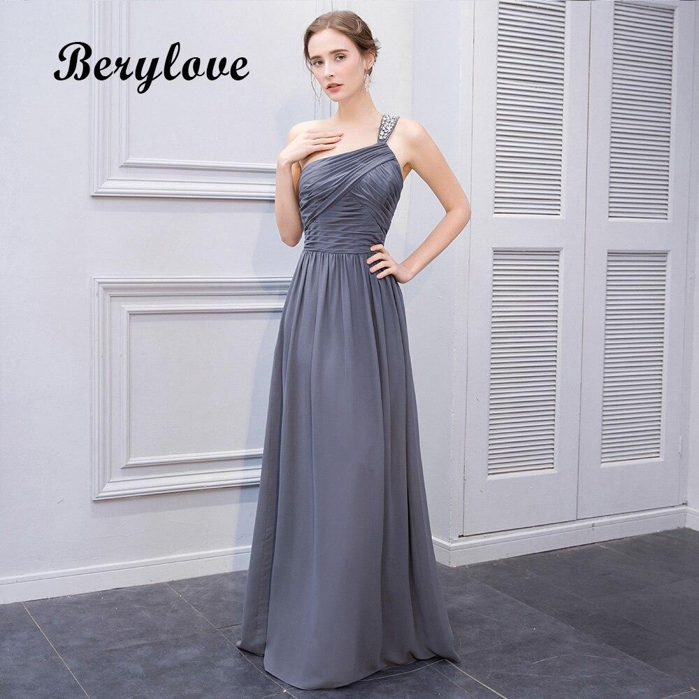 Berylove Simple Un Hombro Gris Vestidos De Graduación 2018
