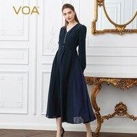 VOA 2018 Spring Fashion Plus Size V Neck High Waist Slim Silk Dress Brief Solid Women Lace Up Vintage Tunic Dress ALX17701