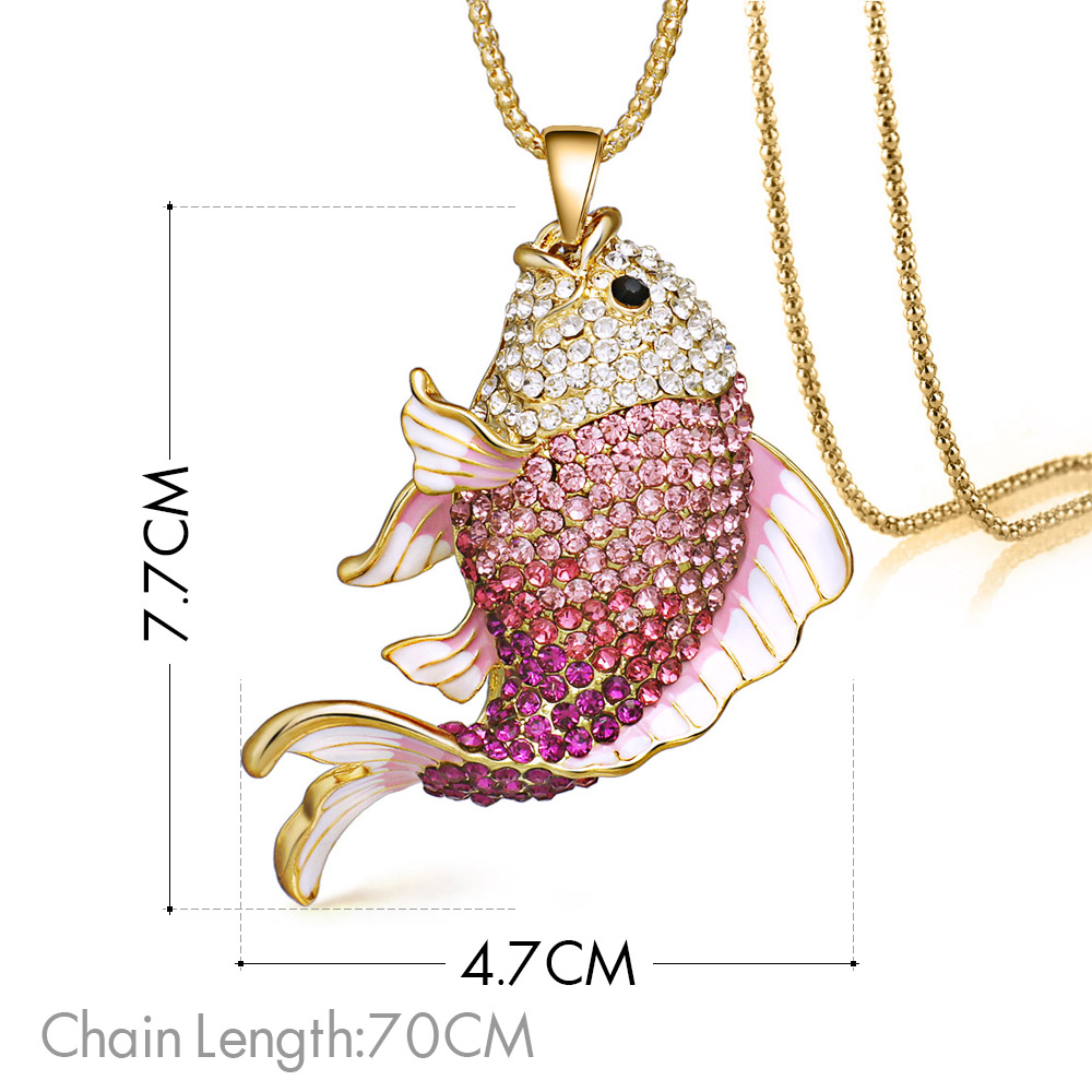 2018 Baru Merek Ikan Kristal Ikan Mas Enamel Berlian Imitasi Kalung - Perhiasan fashion - Foto 6